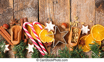 christmas candy and spices background