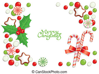 Christmas candy background - Christmas background with...