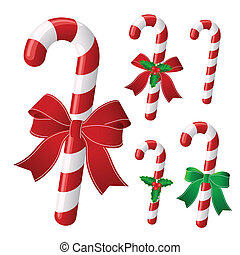 Christmas candy - Candy cane collection with ribbon and ...