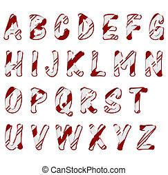 Christmas Candy Cane Color Alphabet Letters - Alphabet...