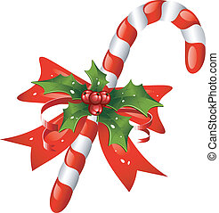 Christmas candy cane decorated with a bow and holly. Over white. EPS 8, AI, JPEG