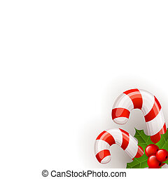 christmas candy cane decorated with a bow and holly isolated on white