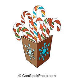 Christmas Candy Cane In Box On White