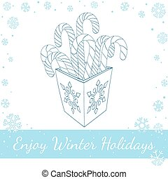Christmas Candy Cane In Box. Vector line art