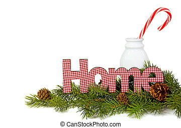 Christmas candy cane in milk bottle