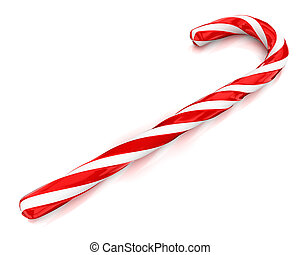 Traditional christmas candy cane isolated on white background in perspective