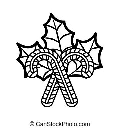 christmas candy cane silhouette with leaves