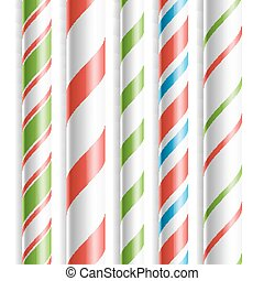 Christmas Candy Cane Vector. Horizontal Seamless Pattern Isolated On White. Good For Christmas Card And New Year Design. Realistic Illustration