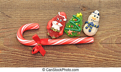 Christmas candy cane with cristmas toy