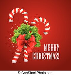 Christmas candy cane with holly and red bow. Vector illustration.