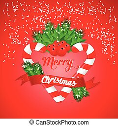 Christmas candy cane with holly and red ribbon. Vector illustration