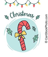 christmas candy cane with lights and falling leaves card