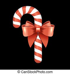 Christmas Candy Cane with Red Ribbon. Vector