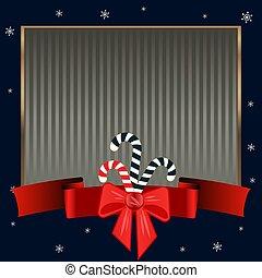 Christmas candy canes. Elegant strict dark blue background...
