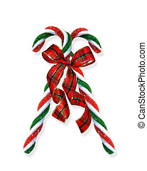 Christmas candy canes with plaid ribbon on white background for greeting card or invitation clip-art