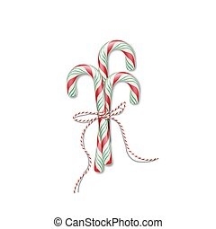 Christmas candy canes with red ribbon. Vector Christmas or New Year design element.