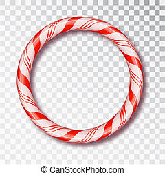 Christmas Candy Frame round isolated . Blank Christmas design, realistic red and white twisted cord frame. New Year 2019. Holiday design, decor. Vector illustration.