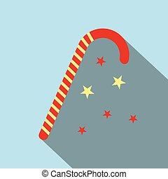 Christmas candy icon flat