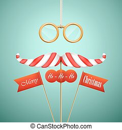 Christmas candy mustache vector illustration.