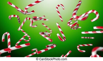 Christmas candy on a green background
