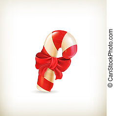 Christmas candy with bow, vector