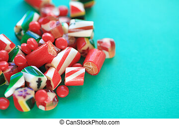 Christmas candy with copy space