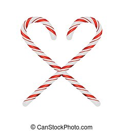 Christmas Candycanes Crossed and Isolated on White Illustration