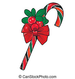 Christmas cane with red berries