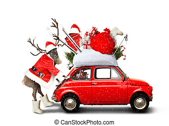 Christmas car Santa Claus