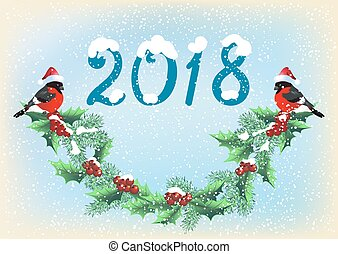 Christmas card 2018 year with garland and bullfinches on the snowfall background in retro style