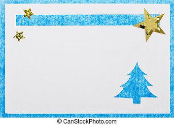 Christmas card - A blue, handmade christmas card.