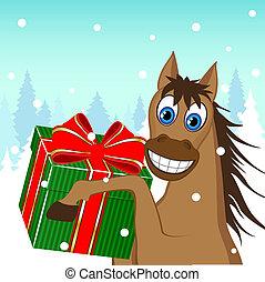 Christmas card - a funny horse