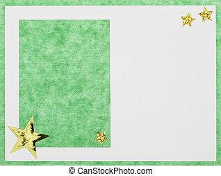 Christmas card - A green, handmade christmas card.