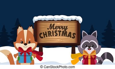 Christmas card and cute animals HD animation