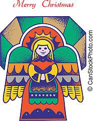 christmas card angel 1 - Christmas Card with Angel, vector, ...