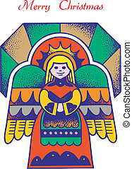 christmas card angel 1 - Christmas Card with Angel, vector,...