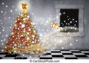 Christmas card, angels decorating the tree with stars