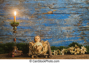 Christmas card, baby Jesus in his crib