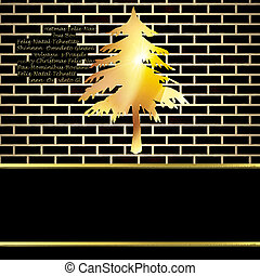 Christmas card background, black and gold fir with copy space