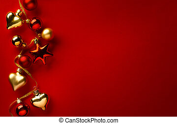 Christmas card background; christmas tree decoration on red background