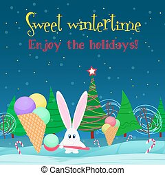 Christmas card background. Rabbit with ice cream candy in the  tree night forest.