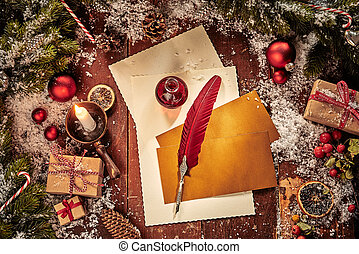Christmas card background with letter and feather