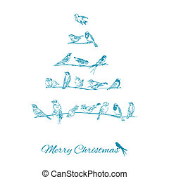 Christmas Card - Birds on Christmas Tree - for invitation, congratulation in vector