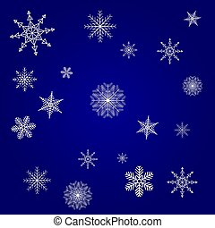 Christmas card blue with white snowflakes background