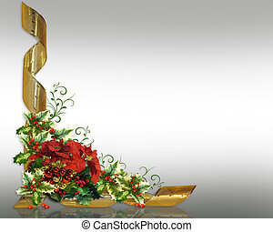 Christmas card border holly floral image and illustration...