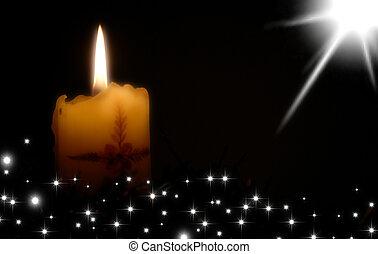 Christmas card candle and stars - Christmas card, candle and...