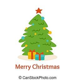 Christmas card cartoon style tree box gift vector