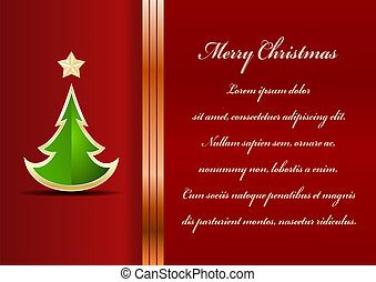Christmas card. Celebration background with tree and place for your text.