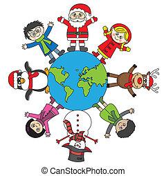 children, santa, reindeer, penguin and snowman worldwide