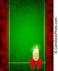 Christmas background with candles and ribbon